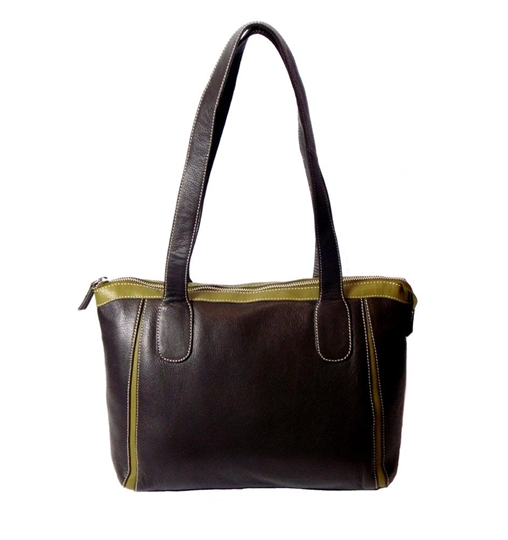 Brown leather two tone front pleats shoulder bag