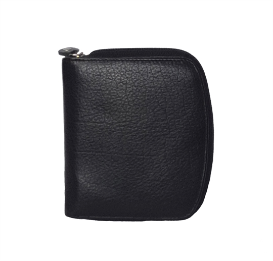 Black leather curved edge purse