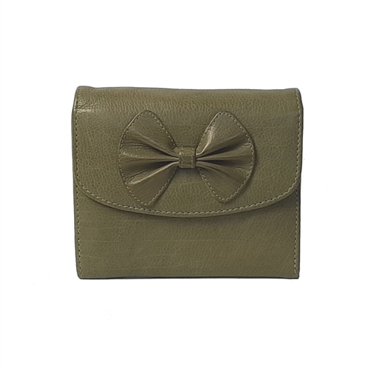 Green Real leather bow purse