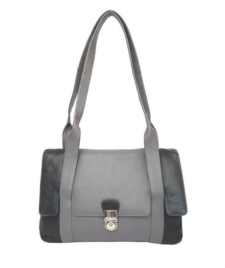Black leather flap over handbag