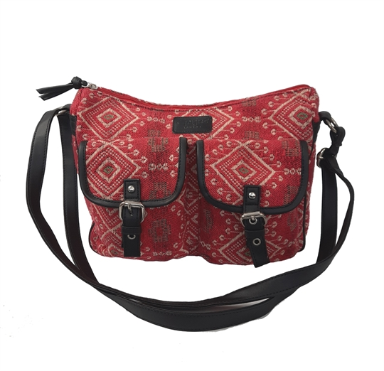 Red Jewel tapestry two front flap pockets across body bag