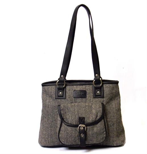 Grey herringbone front pocket tote shoulder bag