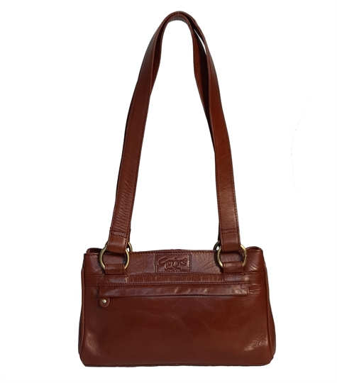 Brown small leather front zip pocket bag