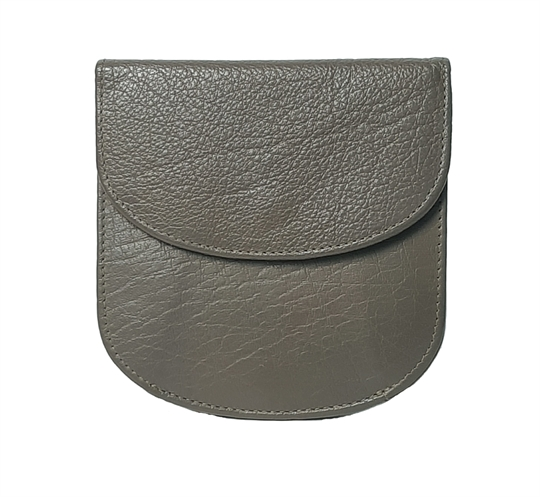Taupe leather half round purse