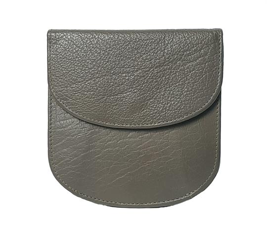 Taupe leather half round purse