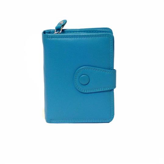 Turquoise Real leather button detail purse