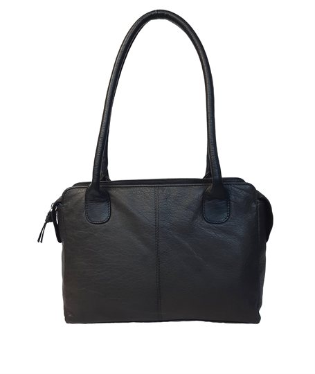 Black leather medium tote bag