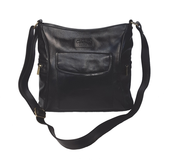 Black leather across body bag with front flap pocket