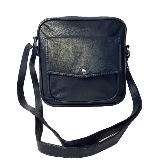 Navy Blue small leather front flap pocket across body bag