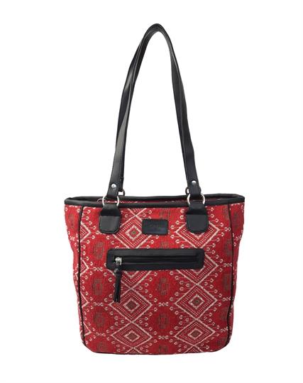 Red Jewel tapestry print shopper bag