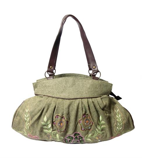 Olive blooming flowers wool tweed & embellished shoulder bag