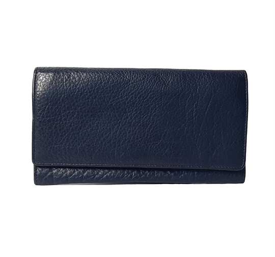 Navy Blue leather flap over purse