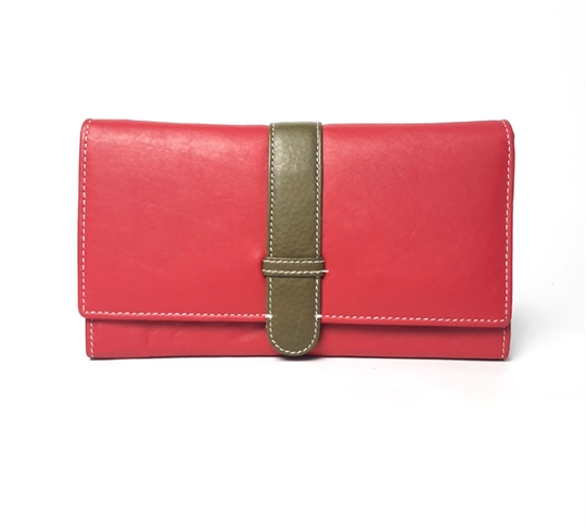 Red Real leather belt loop flap purse