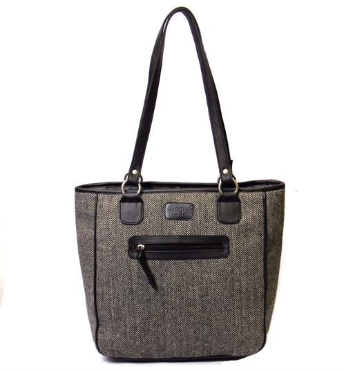 Grey Herringbone shopper bag