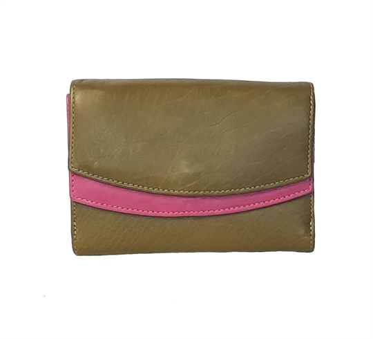 Green Real leather double curved flap purse