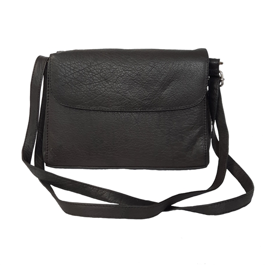 Black leather across body organiser bag
