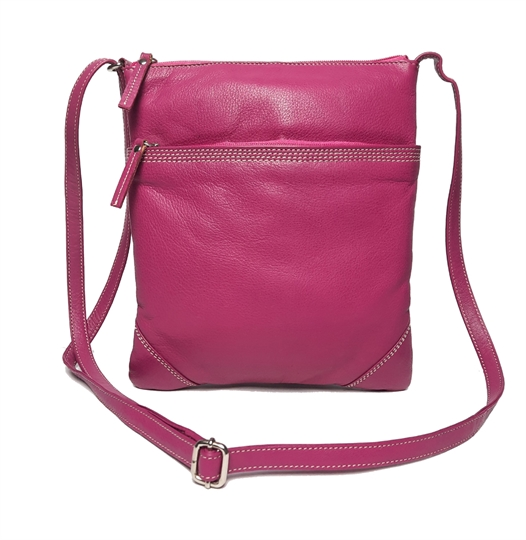 Pink leather stitch across body bag