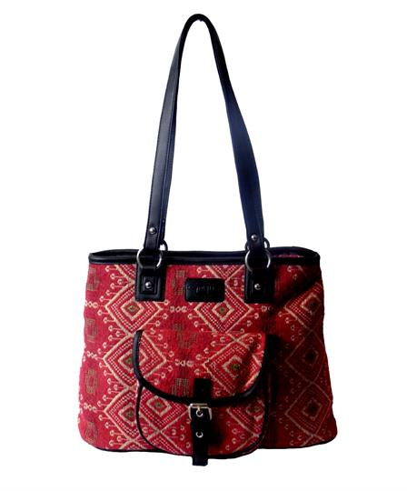 Red Jewel tapestry front pocket tote bag