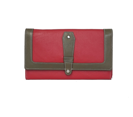 Red Real leather contrast flap over purse