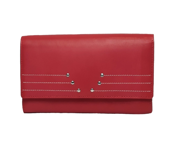 Red Real leather rivet and stitch detail purse