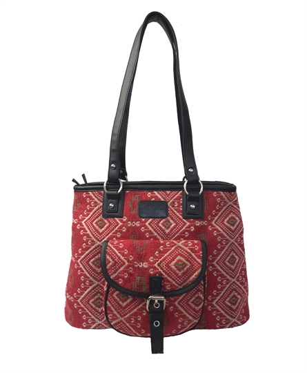 Red Jewel tapestry front pocket tote shoulder bag