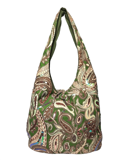Green Paisley gypsy slouch bag