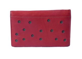 Real leather dots cut out purse