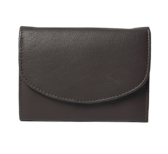 Brown small leather flap over purse