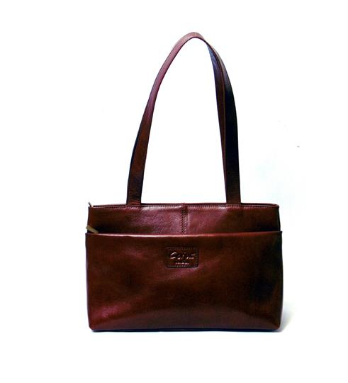Brown Veg tanned real leather front zip pocket bag