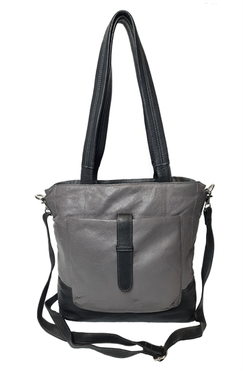 Grey leather front pouch shoulder bag