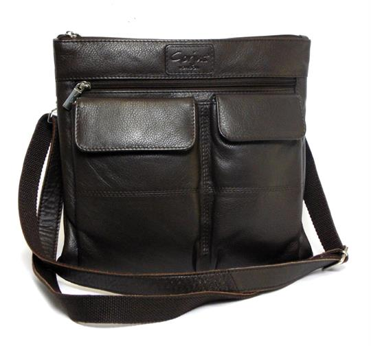 Brown Real leather double front pocket across body bag