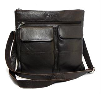 Real leather double front pocket across body bag