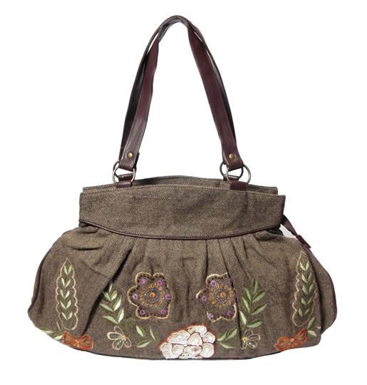 Brown blooming flowers wool tweed & embellished shoulder bag