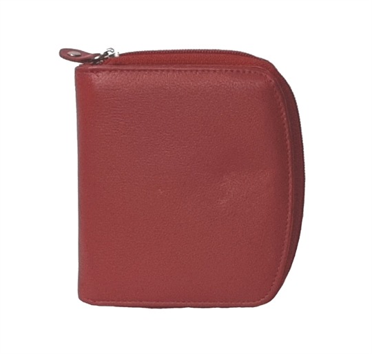 Red leather curved edge purse