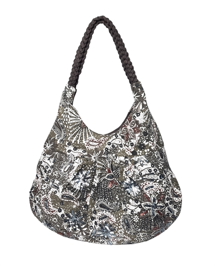 Grey Flowers & Paisley slouch bag