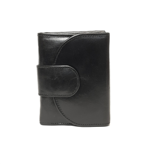 Black leather curved tab button down purse