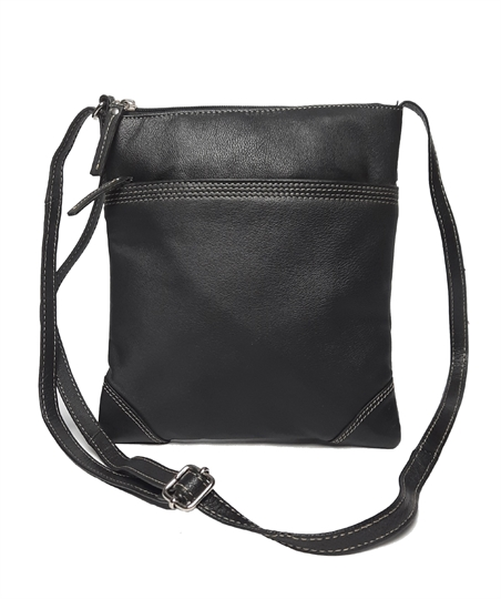 Black leather stitch across body bag