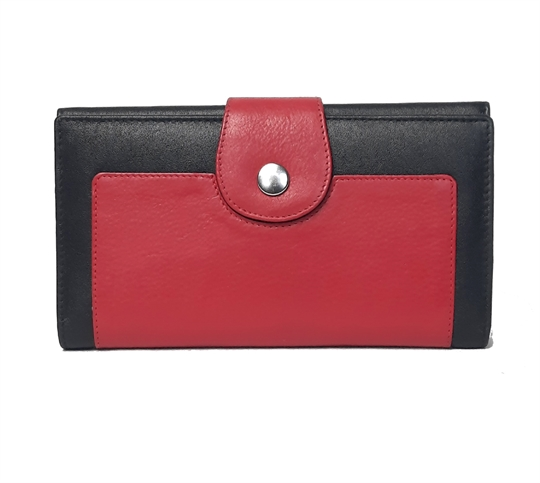 Black Real leather button loop purse