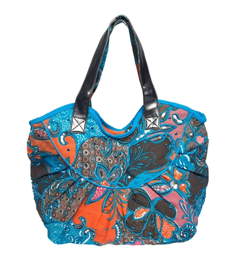 Turquoise tropical flower print canvas bag