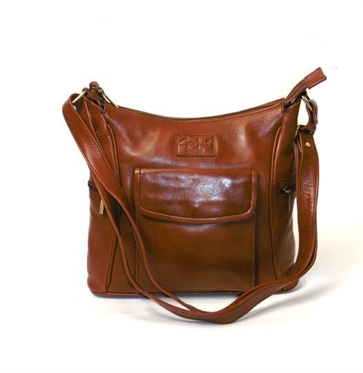 Brown Veg tanned real leather front flap pocket bag