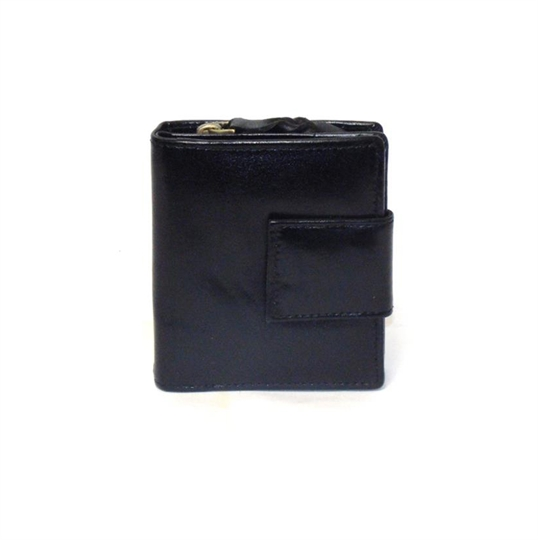 Black leather square closure purse