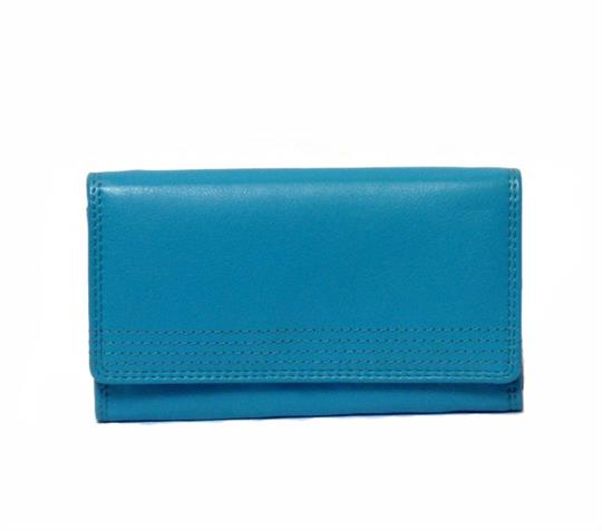 Turquoise Real leather flap over purse