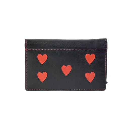 Black Real leather hearts applique purse