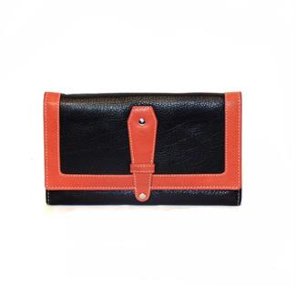 Real leather contrast flap over purse