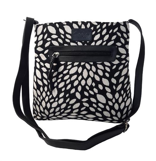 Black Leaf tapestry front zip pocket across body bag