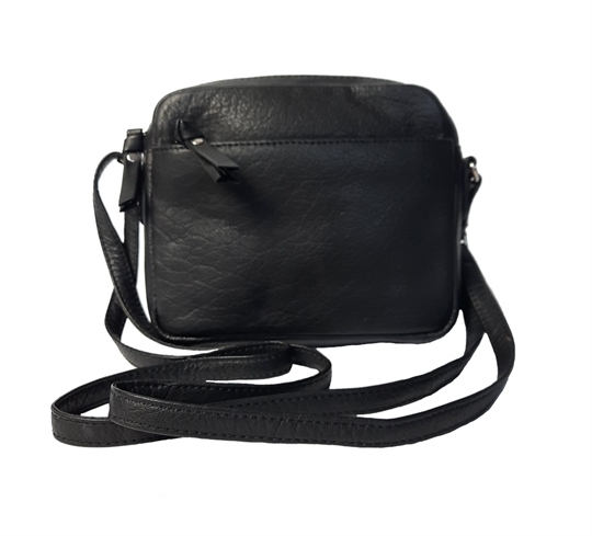Black small leather front zip pocket across body bag