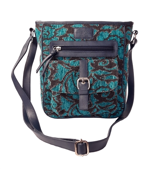 Teal Rose tapestry front pocket across body bag