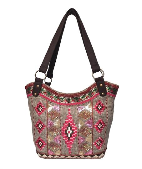 Beige diamonds embroidered tweed bucket shoulder bag