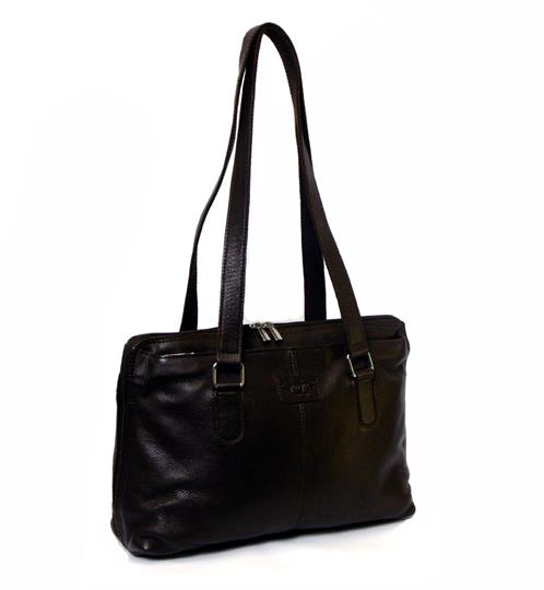 Brown large leather tote bag
