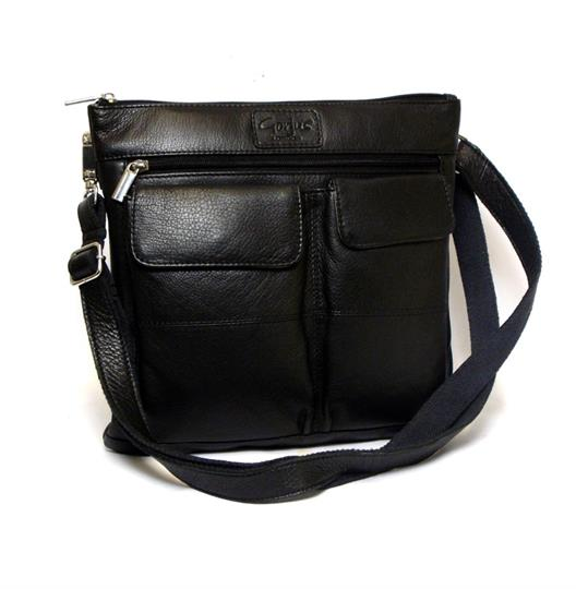 Black leather double front pocket across body bag